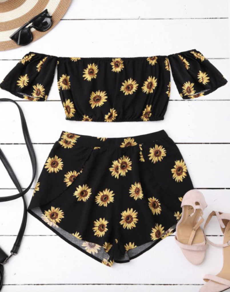 ZAFUL SHORTS ANETTE MORGAN SUNFLOWERS