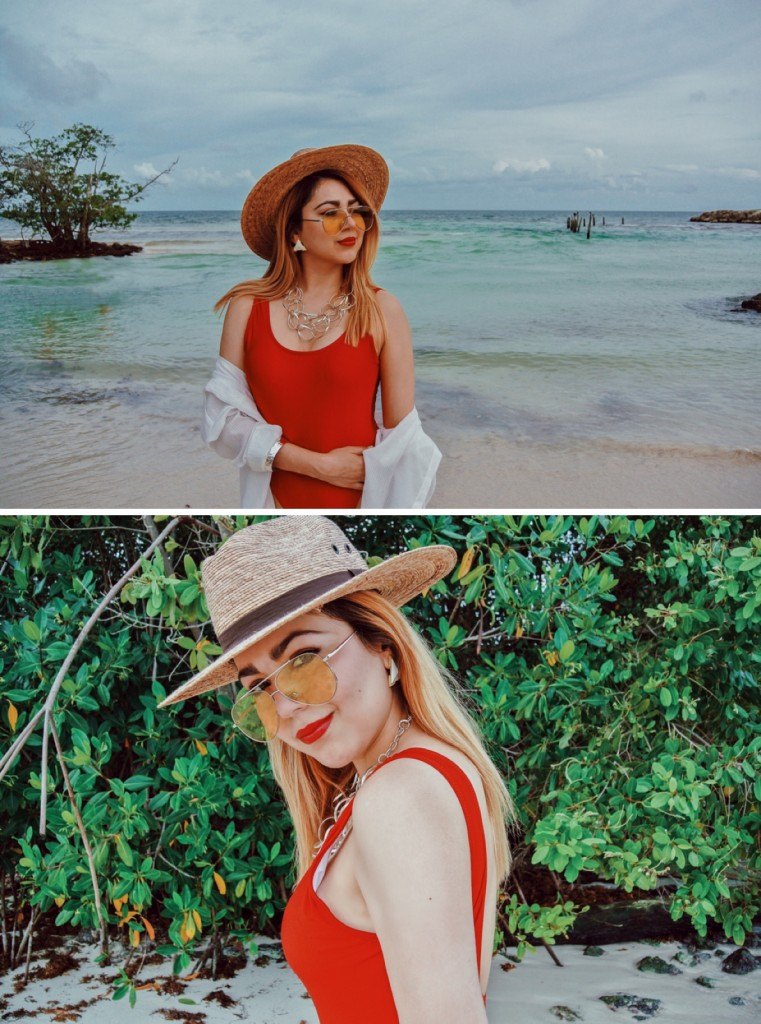 Anette Morgan Vegan Mexican Blogger Red Swimsuit Beach 4