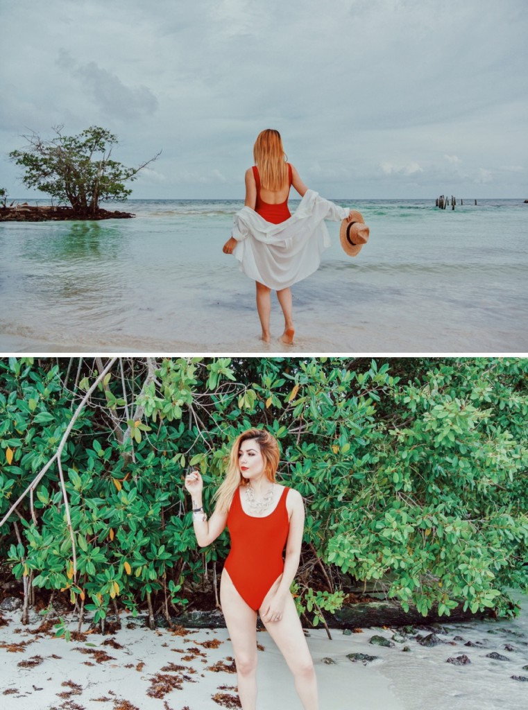 Anette Morgan Vegan Mexican Blogger Red Swimsuit Beach 5