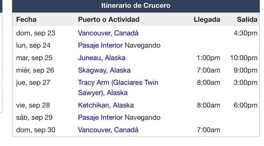 Cruise Itinerary Vancouver Alaska